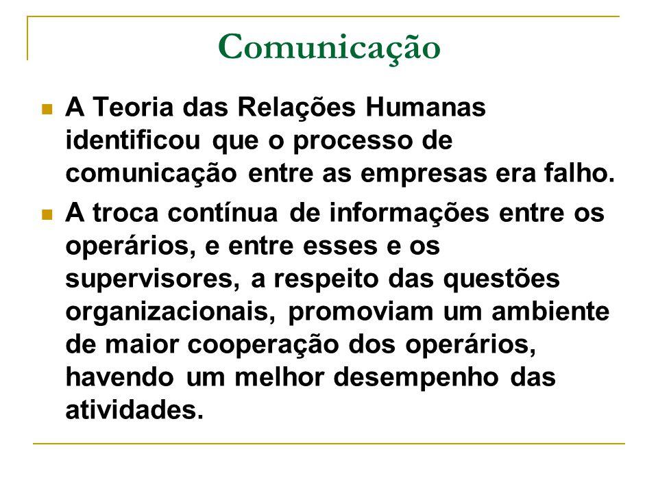 Comunicação A Teoria das Relações Humanas identificou que o processo de comunicação entre as empresas era falho.