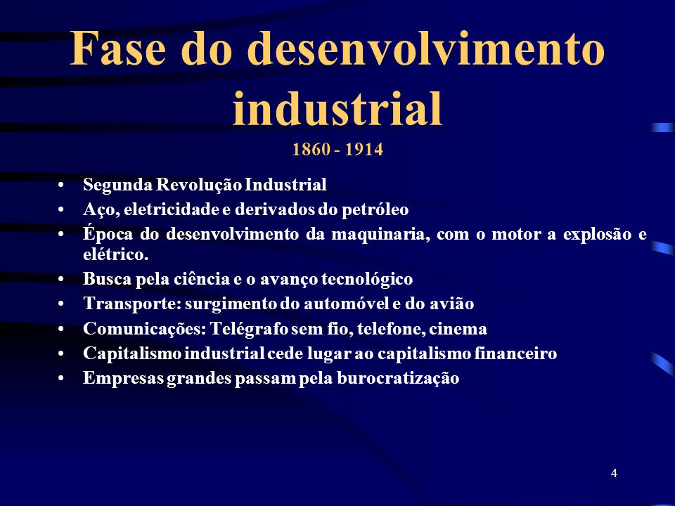 Fase do desenvolvimento industrial 1860 - 1914