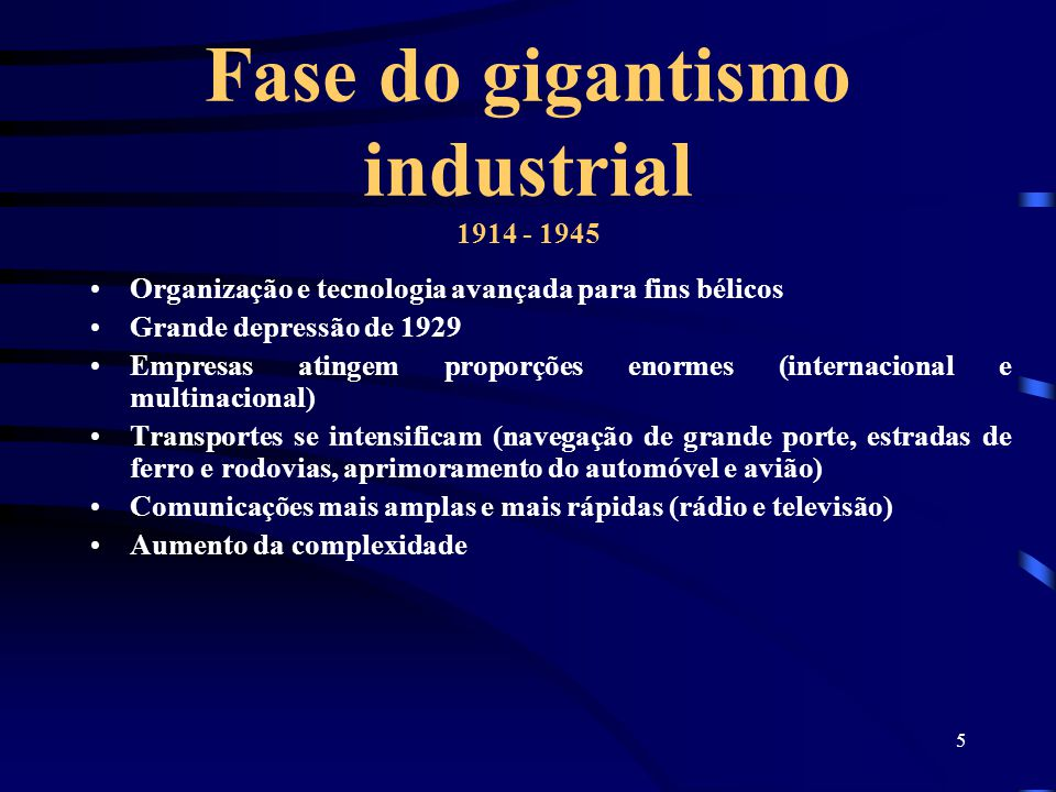 Fase do gigantismo industrial 1914 - 1945