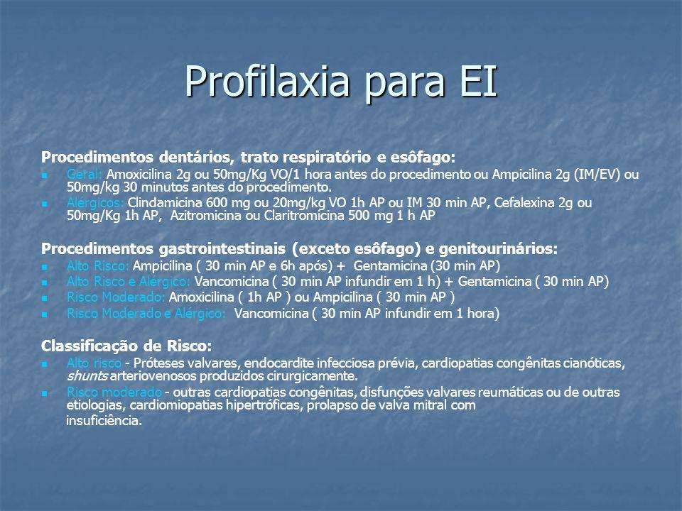 Profilaxia para EI Procedimentos dentários, trato respiratório e esôfago: