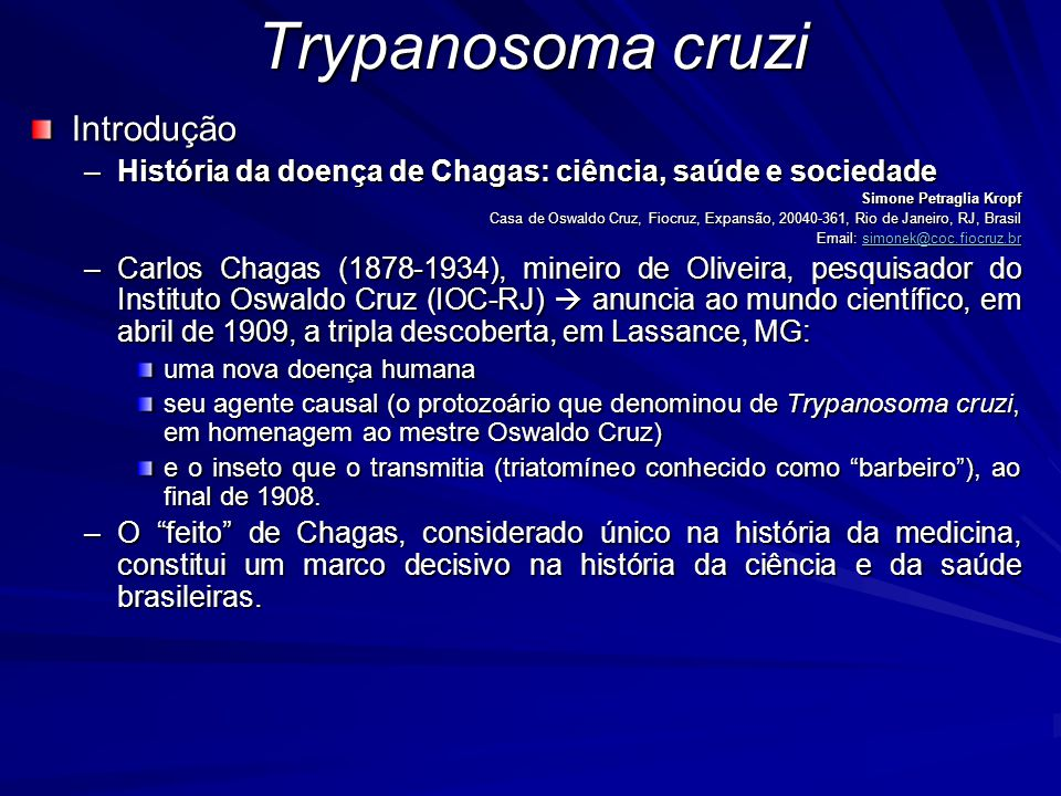 Trypanosoma cruzi Introdução