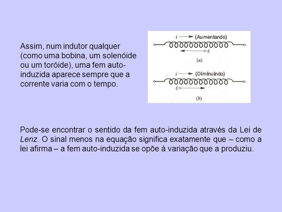 Assim, num indutor qualquer (como uma bobina, um solenóide ou um toróide), uma fem auto-induzida aparece sempre que a corrente varia com o tempo.
