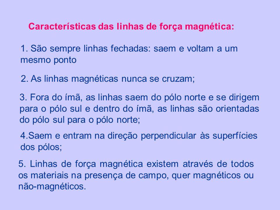 Características das linhas de força magnética: