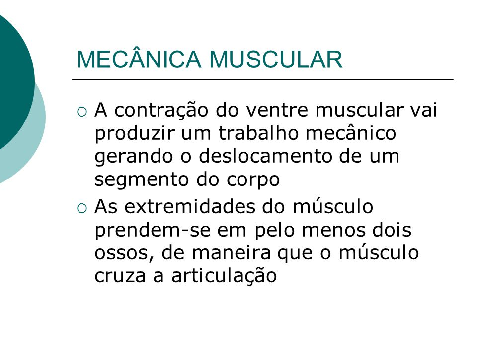 MECÂNICA MUSCULAR A contração do ventre muscular vai produzir um trabalho mecânico gerando o deslocamento de um segmento do corpo.