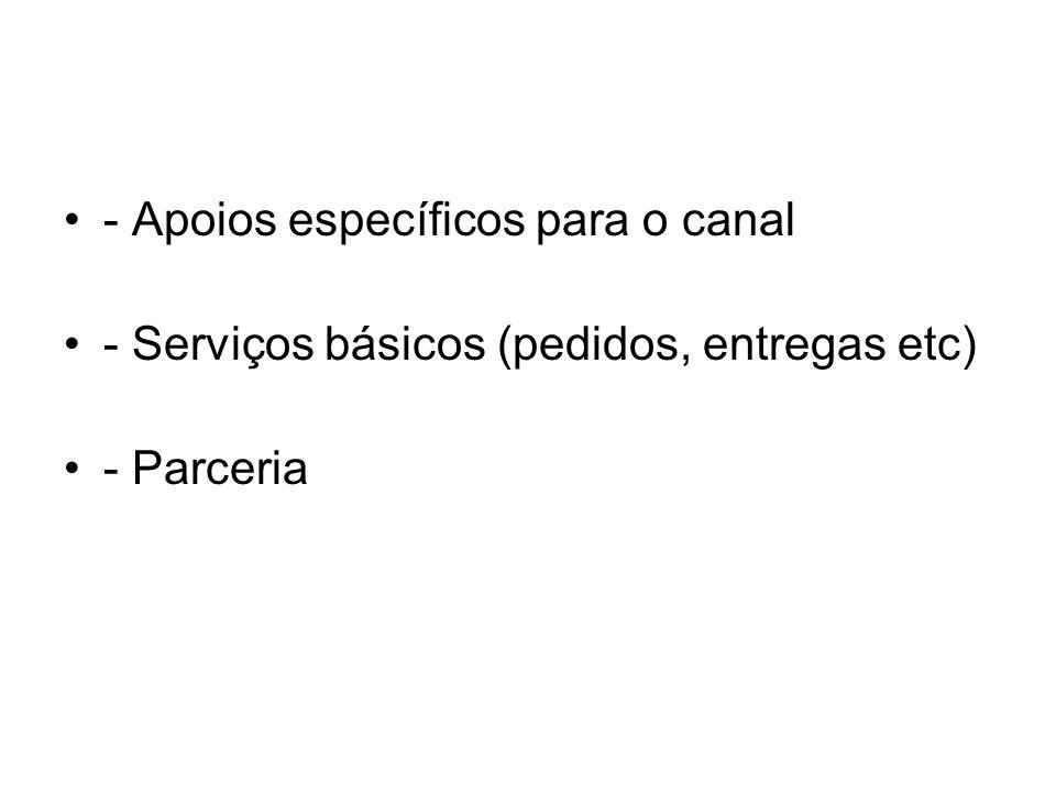 - Apoios específicos para o canal