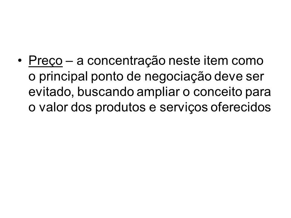 Preço – a concentração neste item como o principal ponto de negociação deve ser evitado, buscando ampliar o conceito para o valor dos produtos e serviços oferecidos