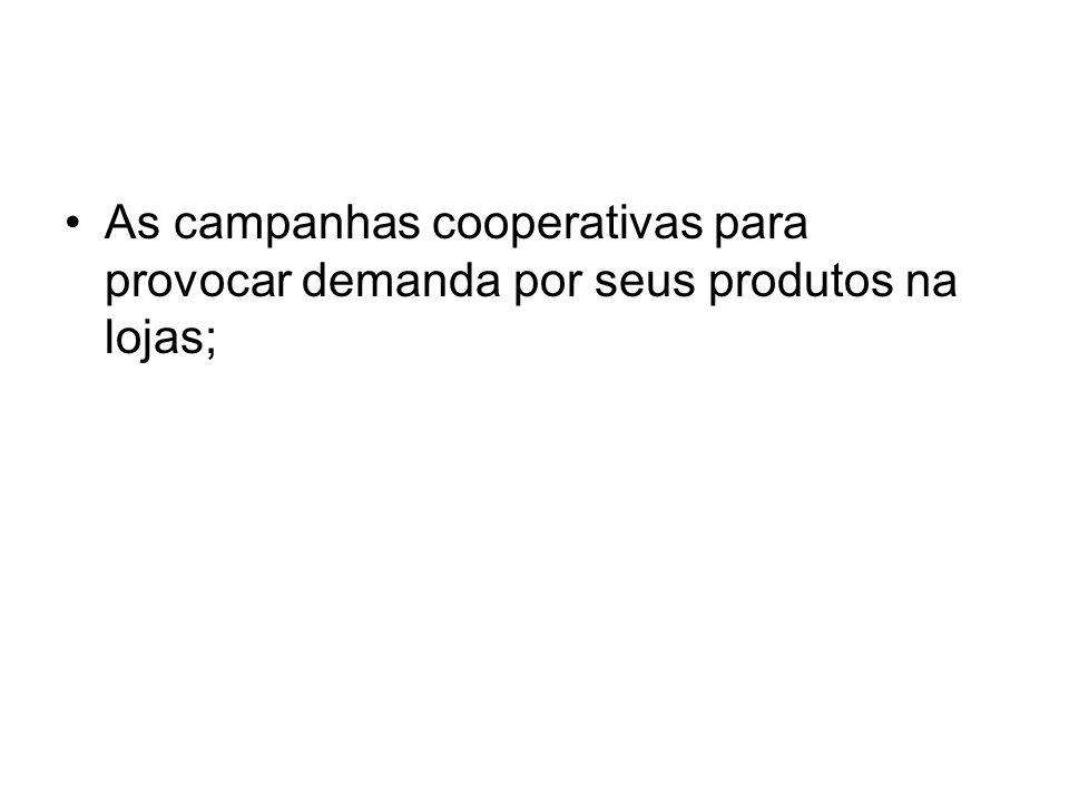 As campanhas cooperativas para provocar demanda por seus produtos na lojas;