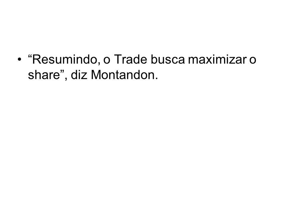 Resumindo, o Trade busca maximizar o share , diz Montandon.
