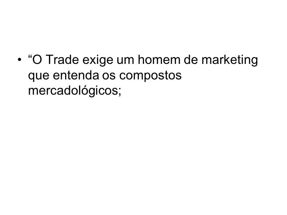 O Trade exige um homem de marketing que entenda os compostos mercadológicos;