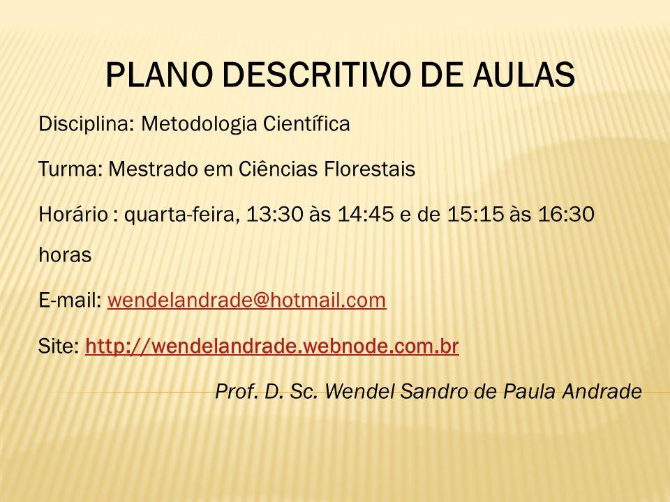 PLANO DESCRITIVO DE AULAS