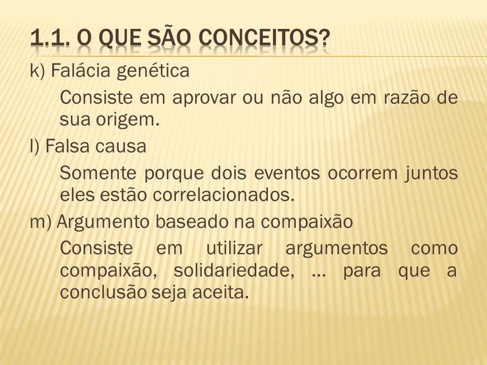 1.1. O que são conceitos k) Falácia genética