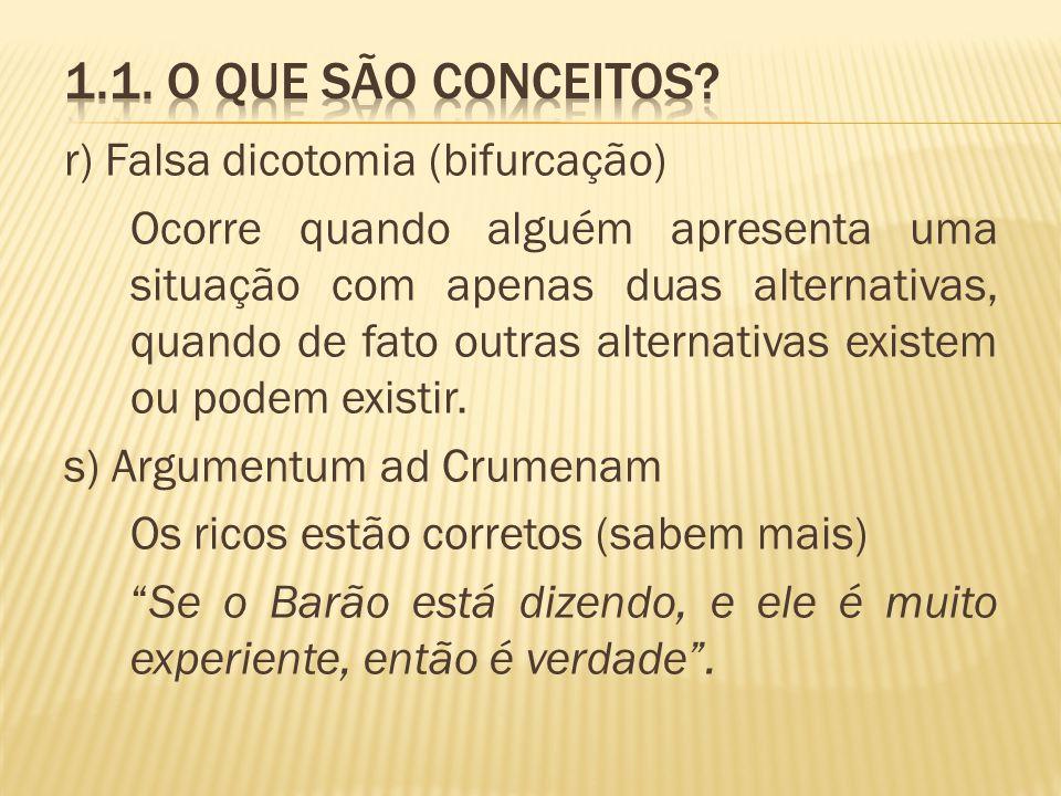 1.1. O que são conceitos r) Falsa dicotomia (bifurcação)