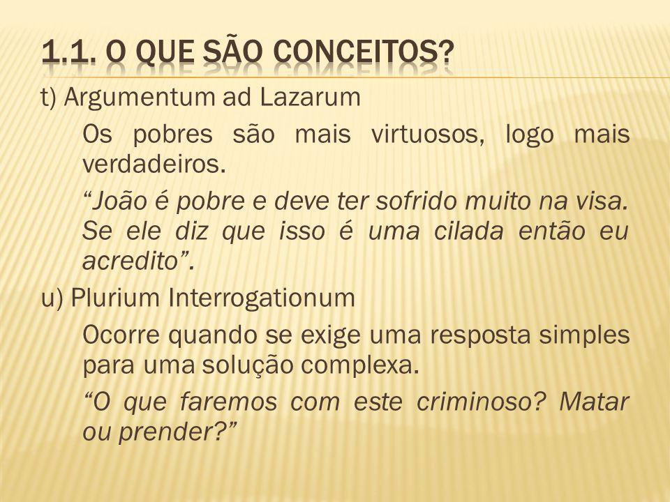 1.1. O que são conceitos t) Argumentum ad Lazarum