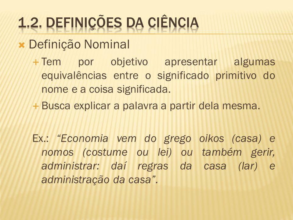 1.2. Definições da ciência Definição Nominal