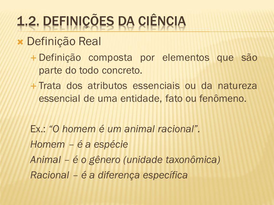 1.2. Definições da ciência Definição Real