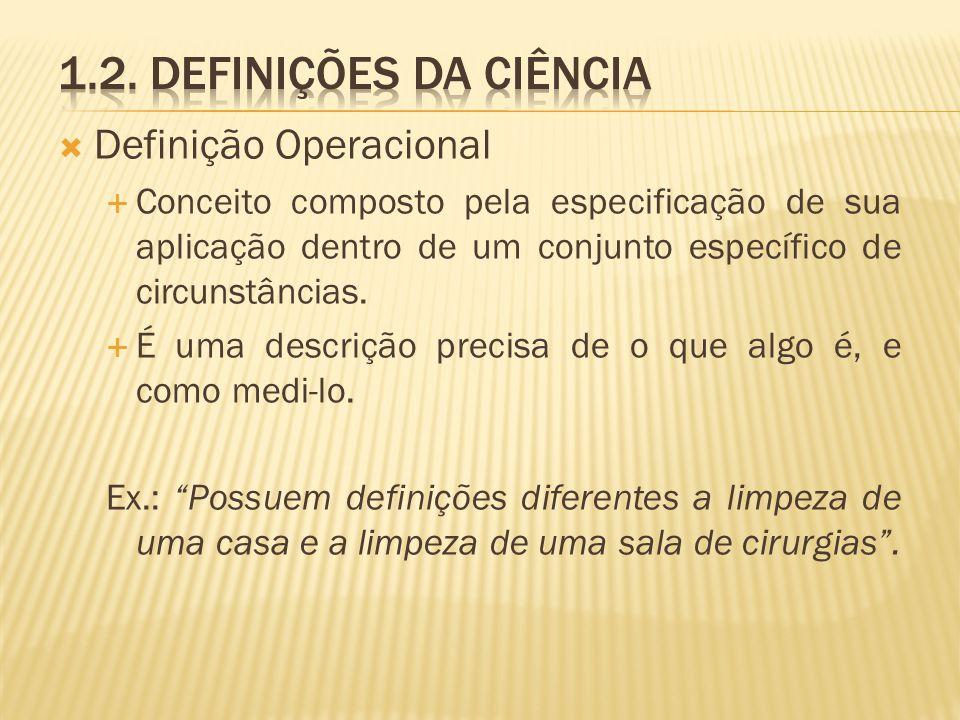 1.2. Definições da ciência Definição Operacional