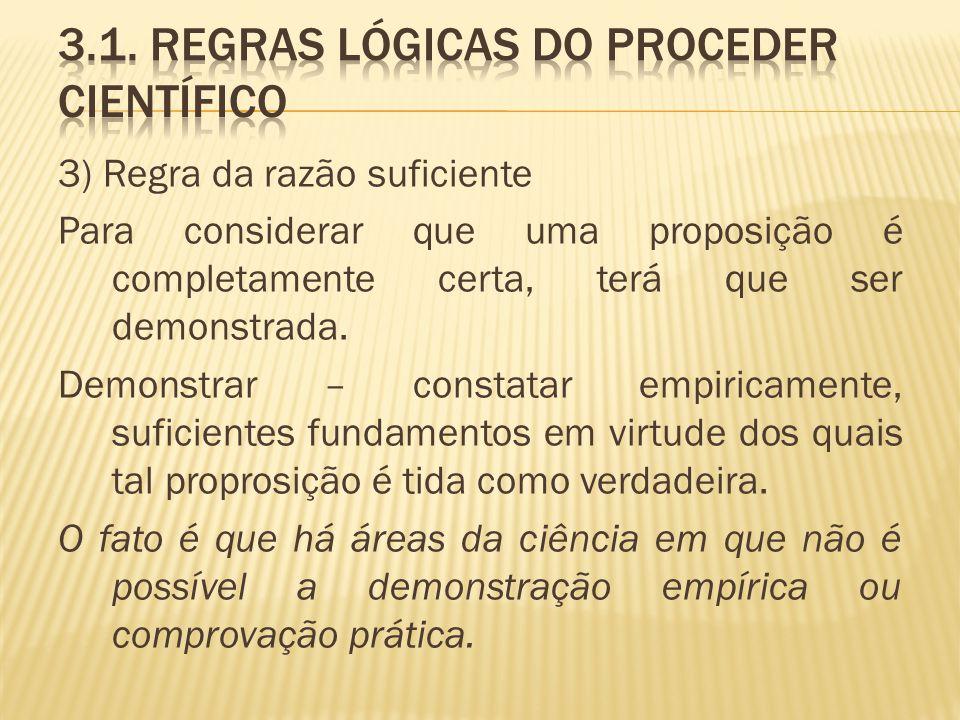 3.1. Regras lógicas do proceder científico