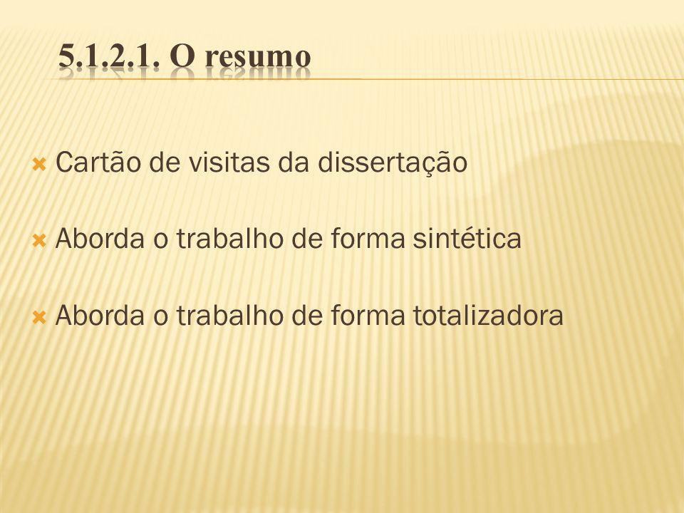 5.1.2.1. O resumo Cartão de visitas da dissertação