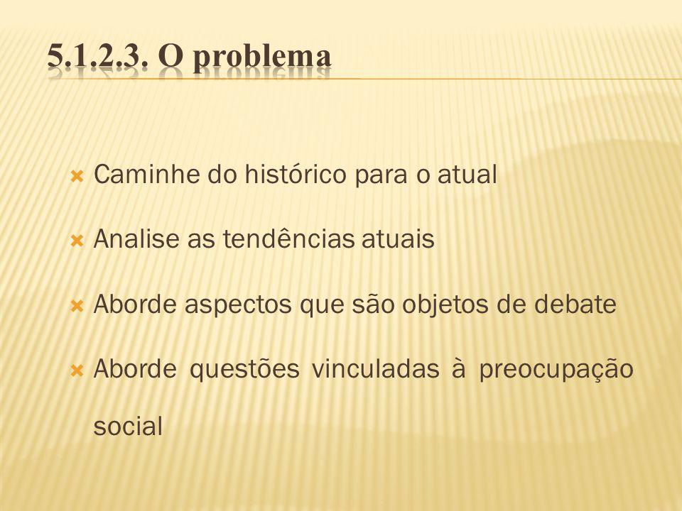 5.1.2.3. O problema Caminhe do histórico para o atual