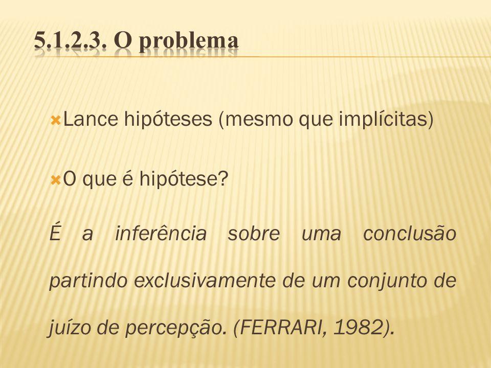 5.1.2.3. O problema Lance hipóteses (mesmo que implícitas)
