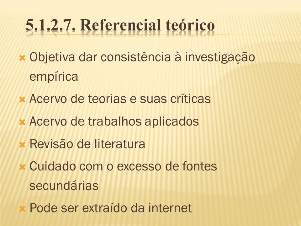 5.1.2.7. Referencial teórico Objetiva dar consistência à investigação empírica. Acervo de teorias e suas críticas.