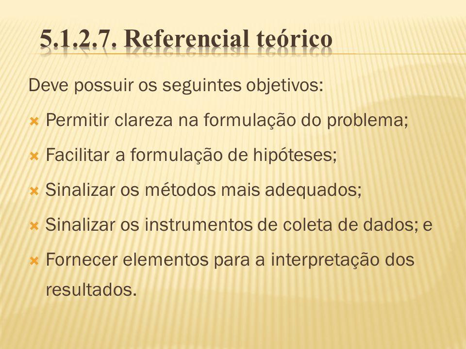 5.1.2.7. Referencial teórico Deve possuir os seguintes objetivos:
