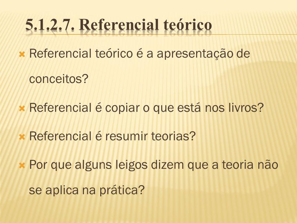 5.1.2.7. Referencial teórico Referencial teórico é a apresentação de conceitos Referencial é copiar o que está nos livros