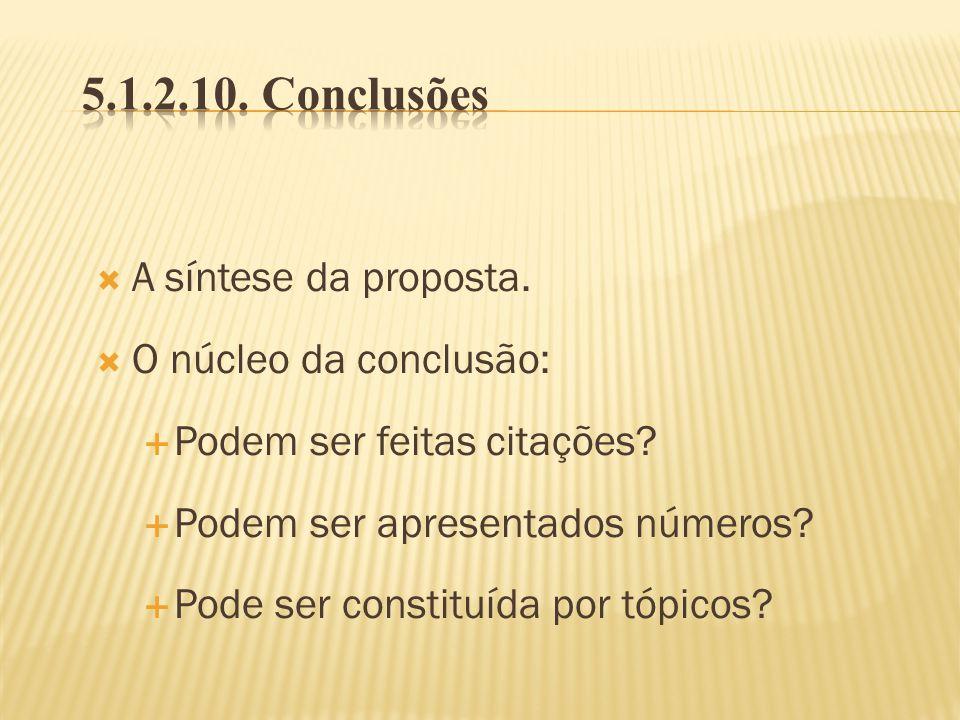 5.1.2.10. Conclusões A síntese da proposta. O núcleo da conclusão: