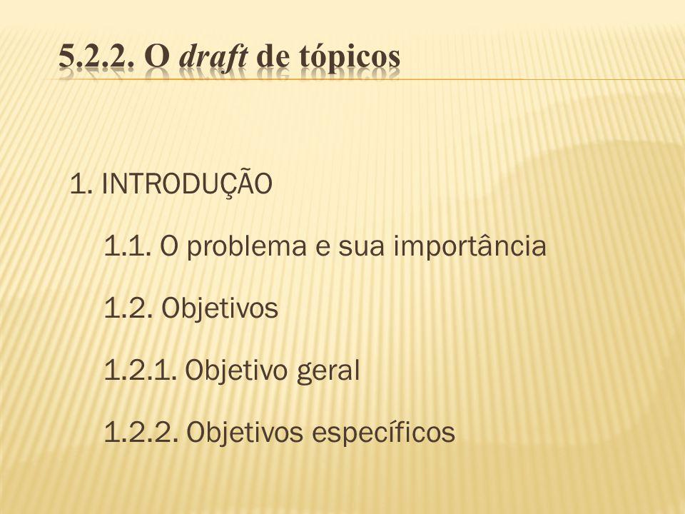 5.2.2. O draft de tópicos 1. INTRODUÇÃO