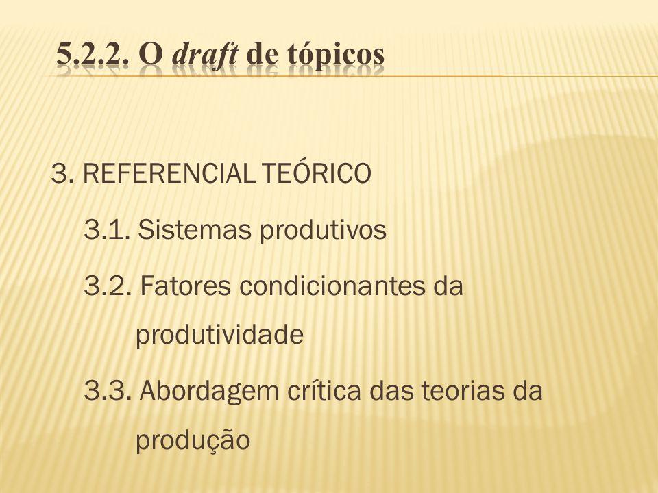 5.2.2. O draft de tópicos 3. REFERENCIAL TEÓRICO