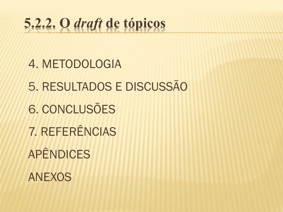 5.2.2. O draft de tópicos 4. METODOLOGIA 5. RESULTADOS E DISCUSSÃO