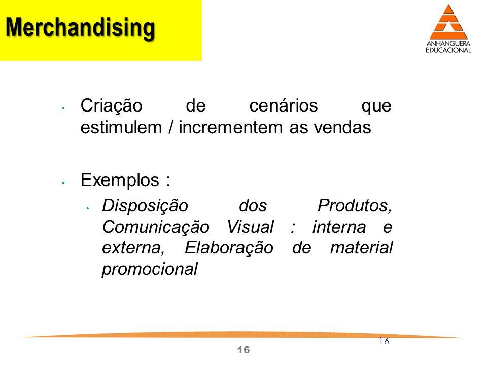Merchandising Criação de cenários que estimulem / incrementem as vendas.