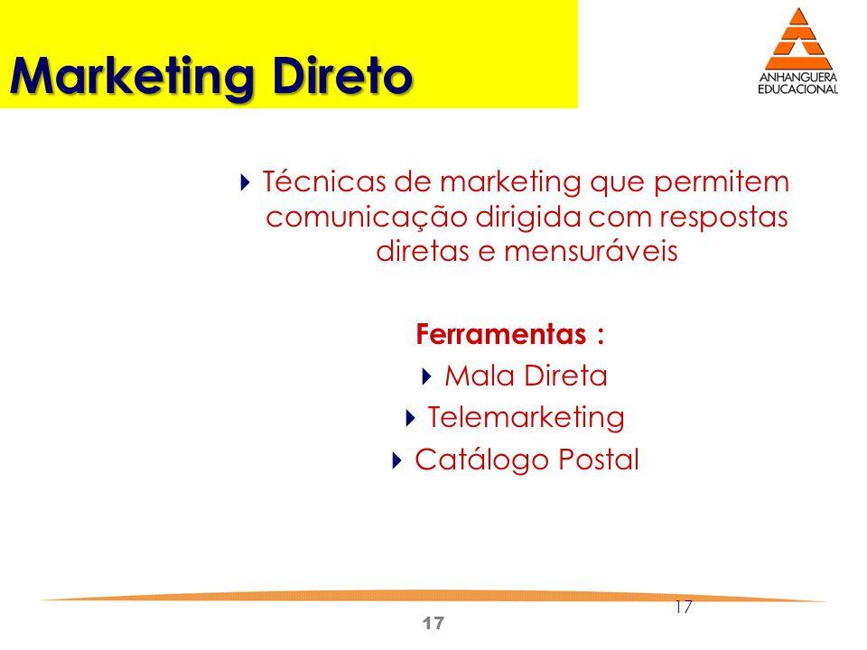 Marketing Direto Técnicas de marketing que permitem comunicação dirigida com respostas diretas e mensuráveis.