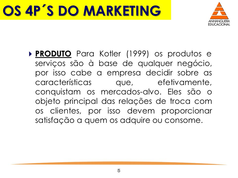 OS 4P´S DO MARKETING