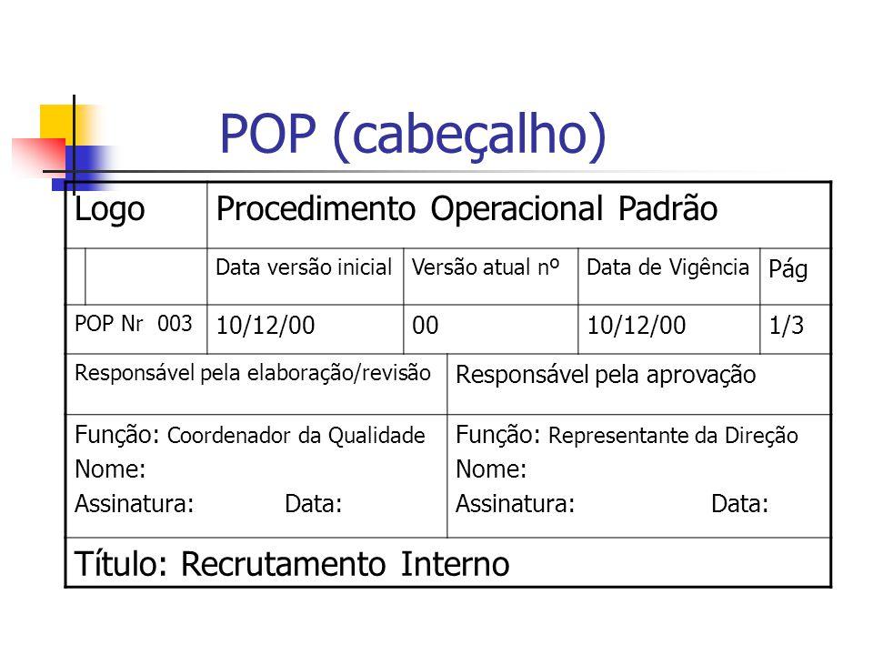 POP (cabeçalho) Logo Procedimento Operacional Padrão