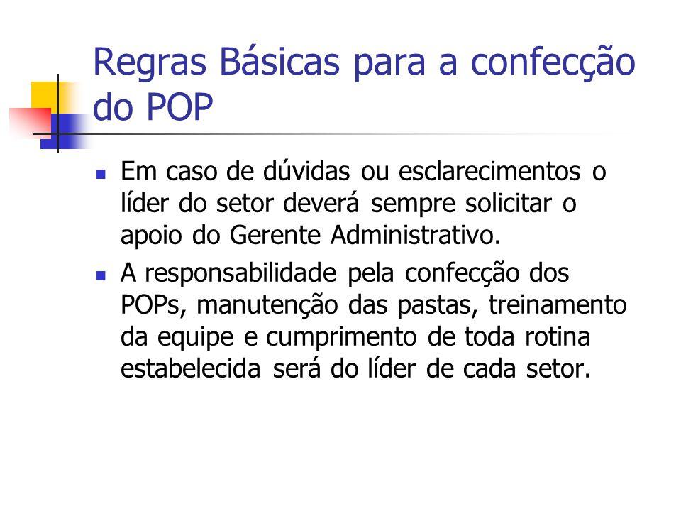 Regras Básicas para a confecção do POP