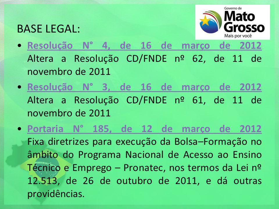 BASE LEGAL: Resolução N° 4, de 16 de março de 2012 Altera a Resolução CD/FNDE nº 62, de 11 de novembro de 2011.