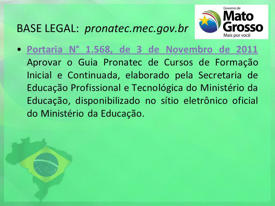 BASE LEGAL: pronatec.mec.gov.br