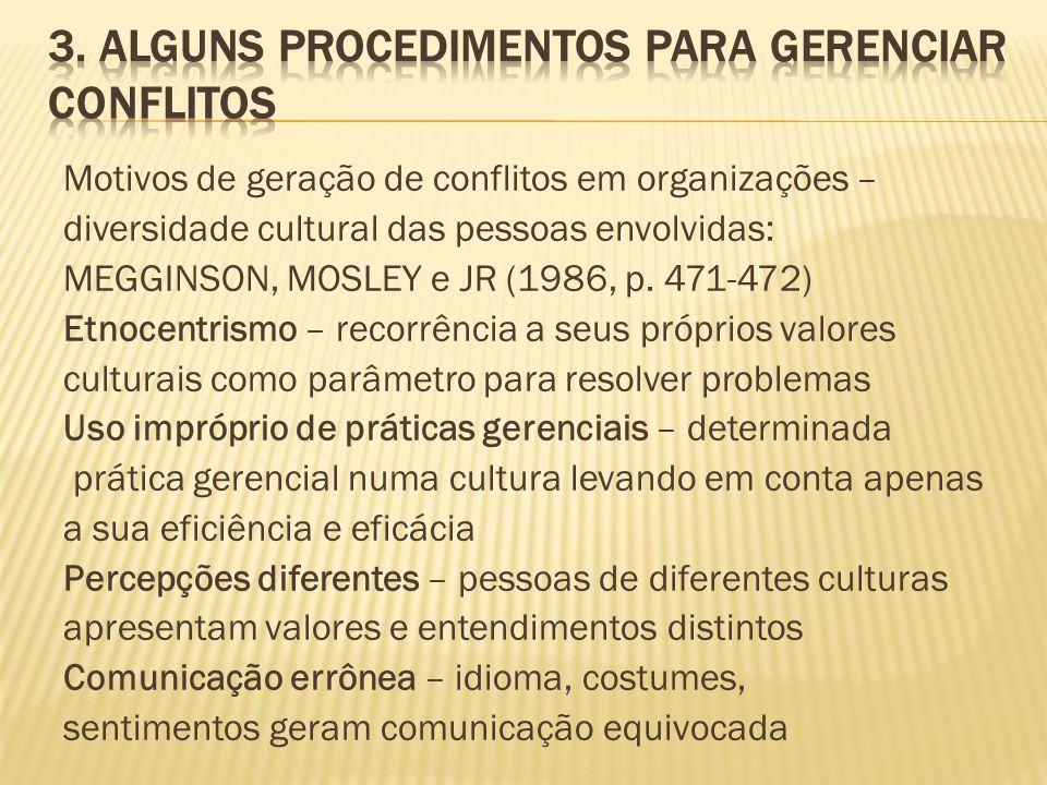 3. Alguns procedimentos para gerenciar conflitos