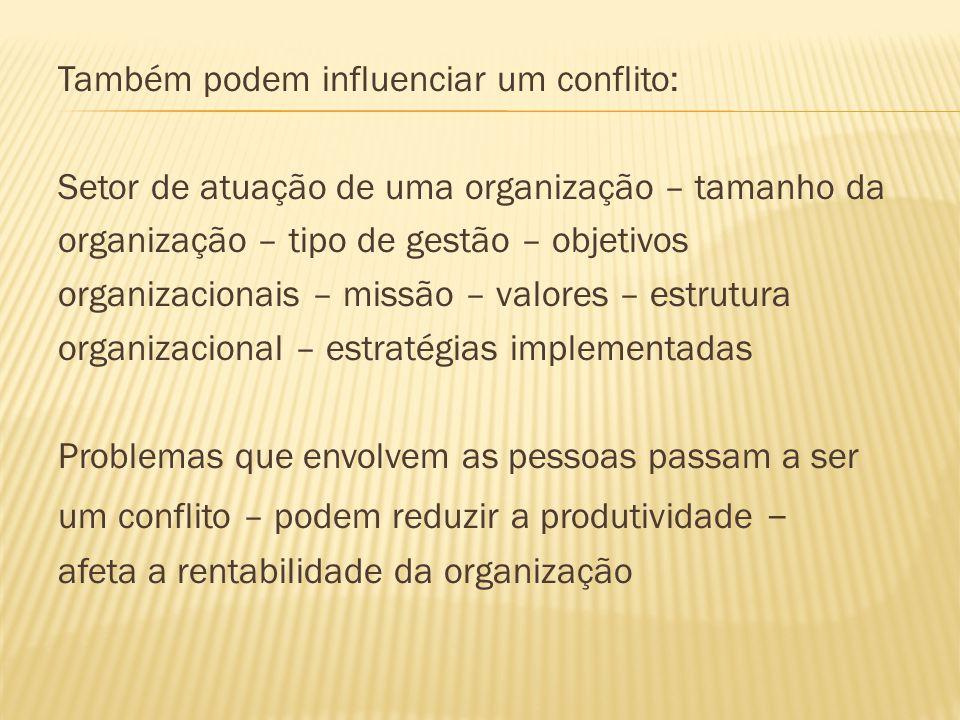 Também podem influenciar um conflito: