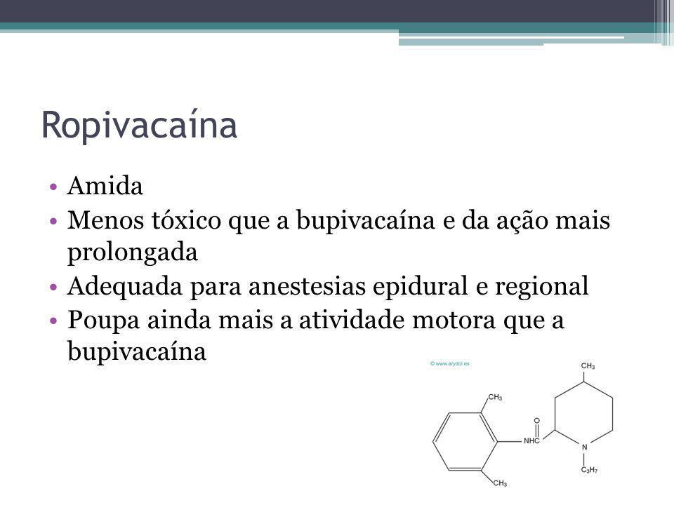 Ropivacaína Amida. Menos tóxico que a bupivacaína e da ação mais prolongada. Adequada para anestesias epidural e regional.
