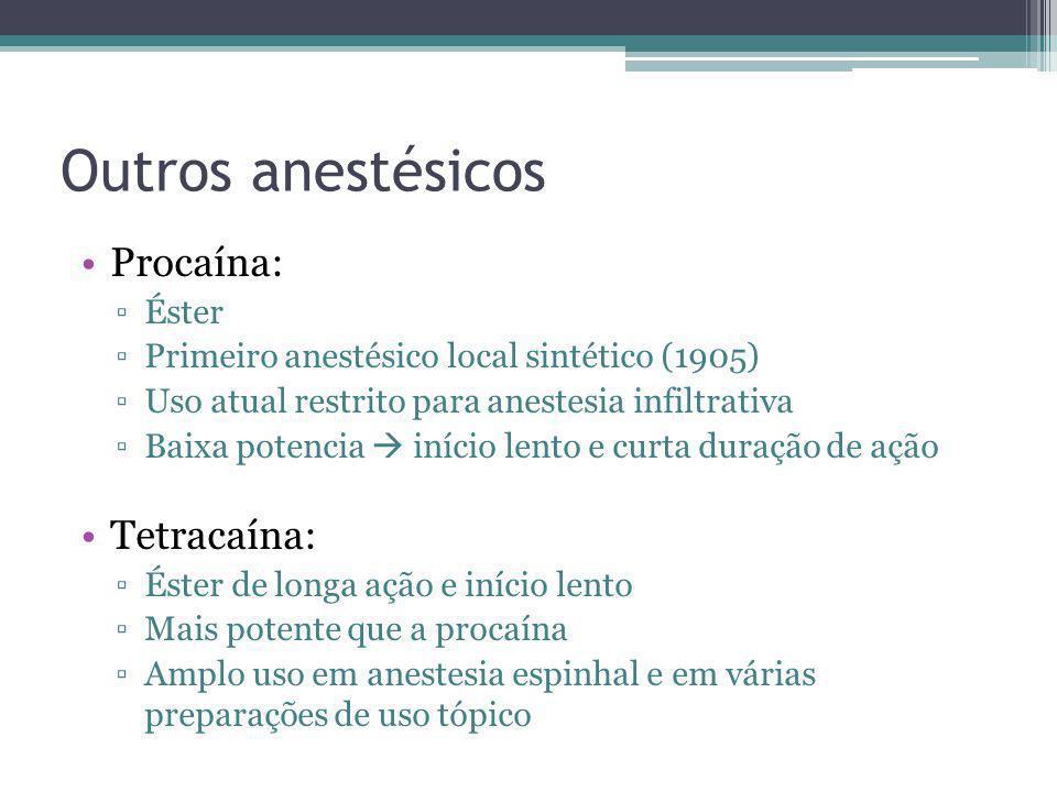 Outros anestésicos Procaína: Tetracaína: Éster