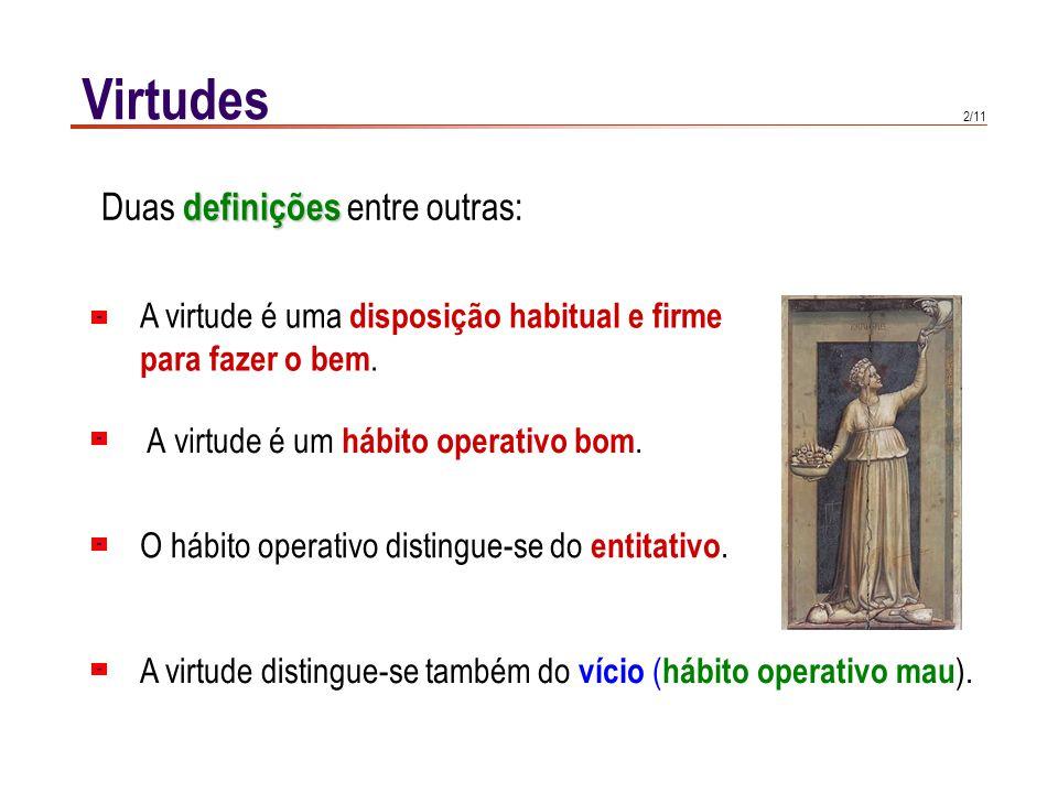 Virtudes Importância da virtude: