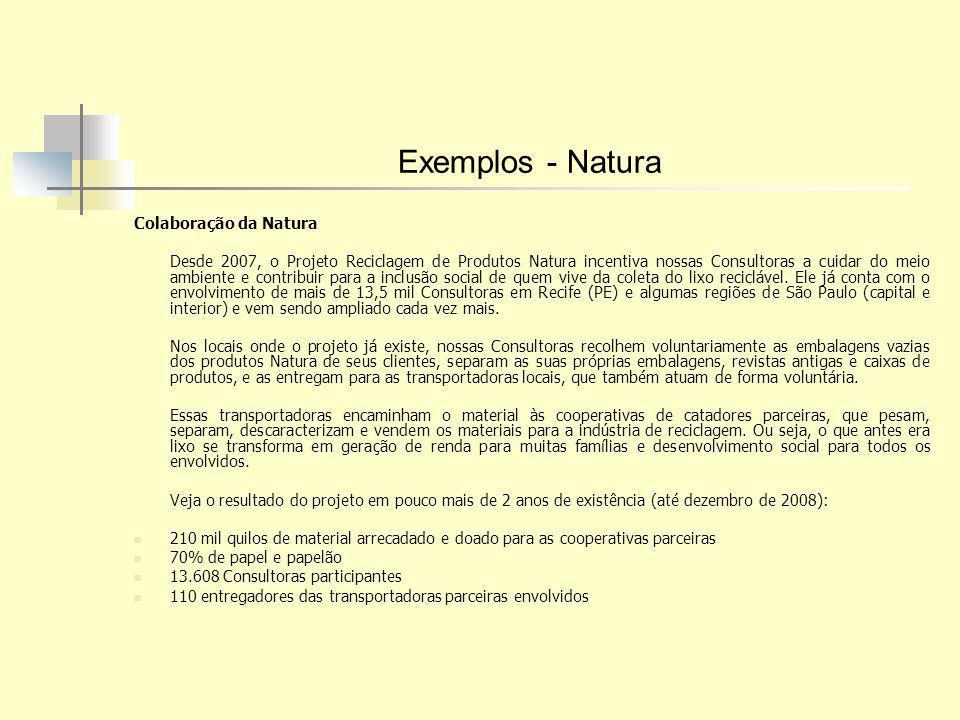 Exemplos - Natura Colaboração da Natura