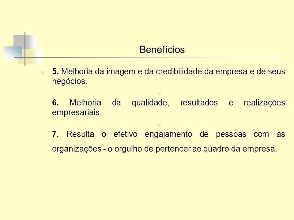 Benefícios 5. Melhoria da imagem e da credibilidade da empresa e de seus negócios. 6. Melhoria da qualidade, resultados e realizações empresariais.