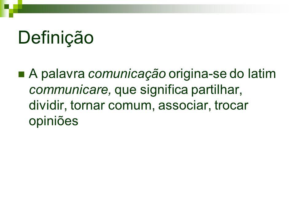 Definição A palavra comunicação origina-se do latim communicare, que significa partilhar, dividir, tornar comum, associar, trocar opiniões.