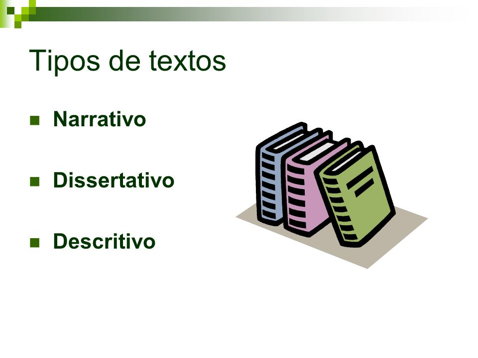 Tipos de textos Narrativo Dissertativo Descritivo