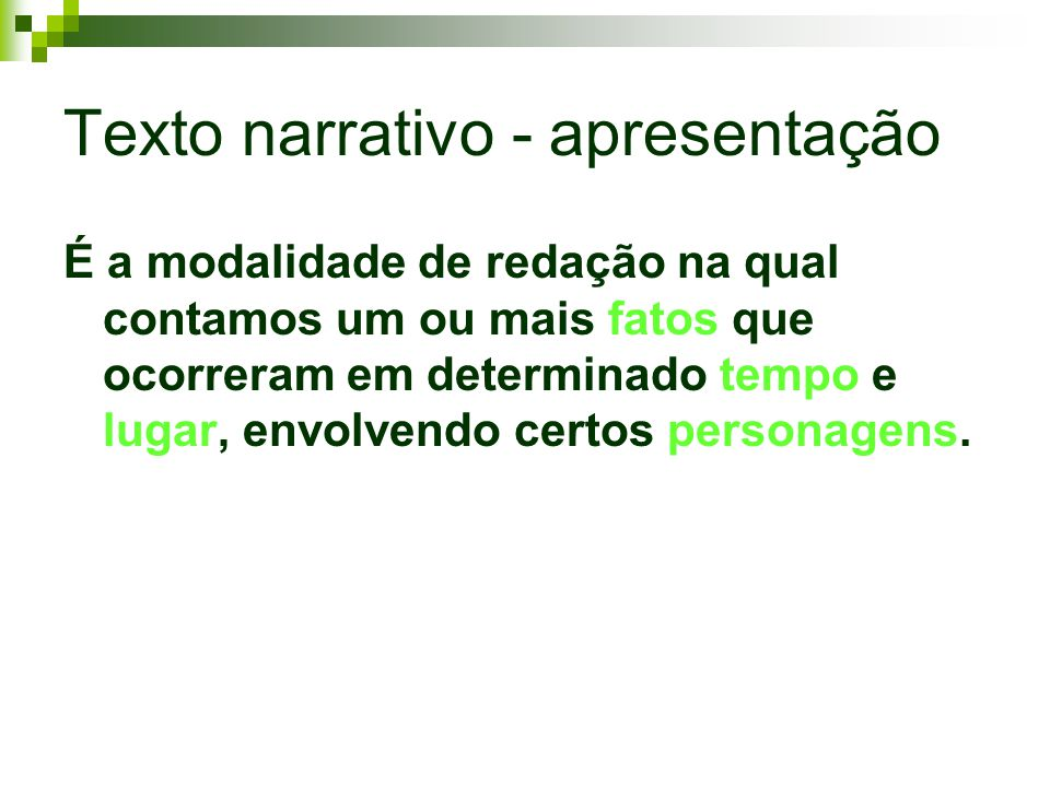 Texto narrativo - apresentação