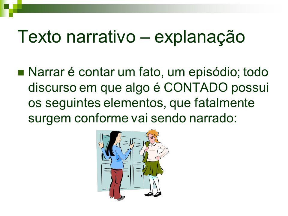 Texto narrativo – explanação