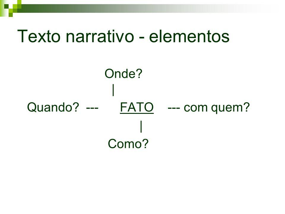 Texto narrativo - elementos